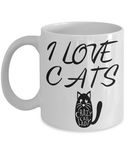 I Love Cats Mug Crazy Cat Lover Coffee Cup Gifts