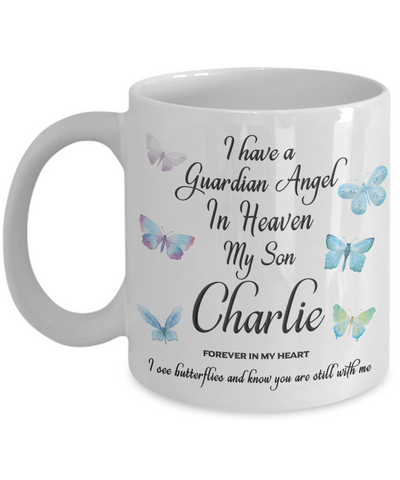 Guardian Angel in Heaven My Son Charlie Memorial Butterfly Mug Gift Butterflies Remembrance Cup