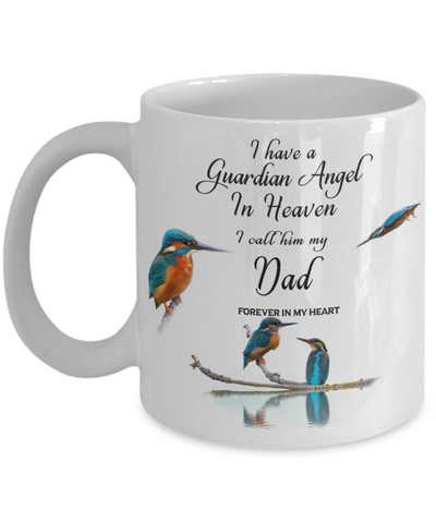 In Memory of Parent Kingfisher Bird Gift Travel Mug  Guardian Angel in Heaven Dad Memory Coffee Cup
