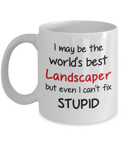 Landscaper Occupation Mug Funny World's Best Can't Fix Stupid Unique Novelty Birthday Christmas Gifts Ceramic Coffee Cup