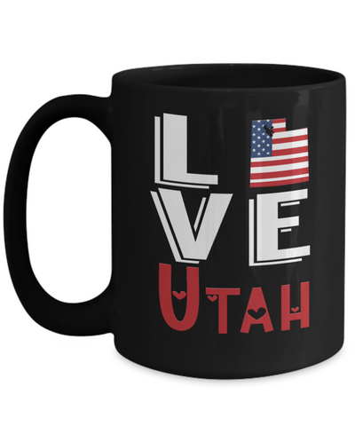Image of Love Utah State Black Mug Gift Novelty American Keepsake Coffee Cup
