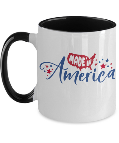 Made in America Patriotic Mug Two-Toned Ceramic Coffee Cup