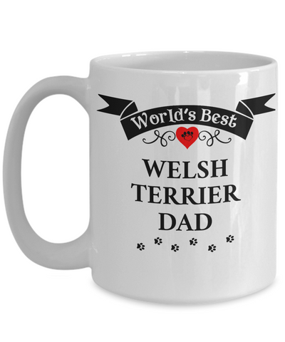 Image of World's Best Welsh Terrier Dad Cup Unique Dog Ceramic Coffee Mug Gifts for Men