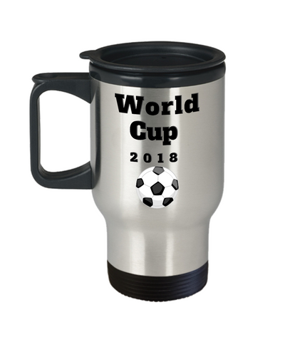 Image of World Cup 2018 Soccer Coffee Travel Mug Novelty Gift Keepsake
