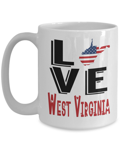 Image of Love West Virginia State Mug Gift Novelty American Keepsake Coffee Cup