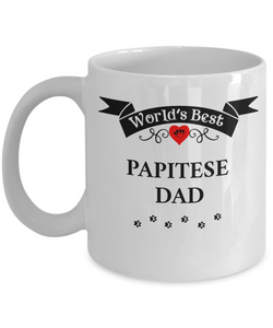 World's Best Papitese Dad Cup Unique Dog Ceramic Coffee Mug Gifts for Men