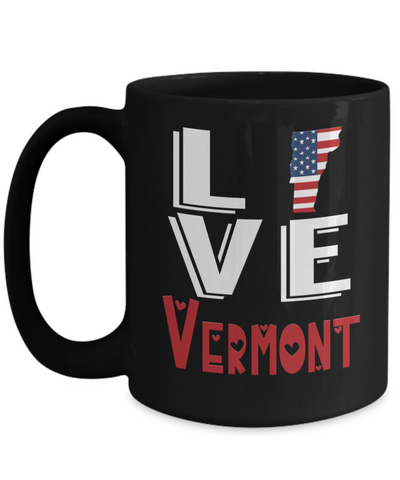 Image of Love Vermont State Black Mug Gift Novelty American Keepsake Coffee Cup
