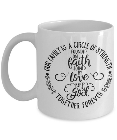Family Circle of Strength Faith Mug Gift Kept By God Novelty Birthday Coffee Cup