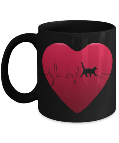 Image of Love Cats Gift, Cat Heartbeat Gift Mug for Cat Lovers