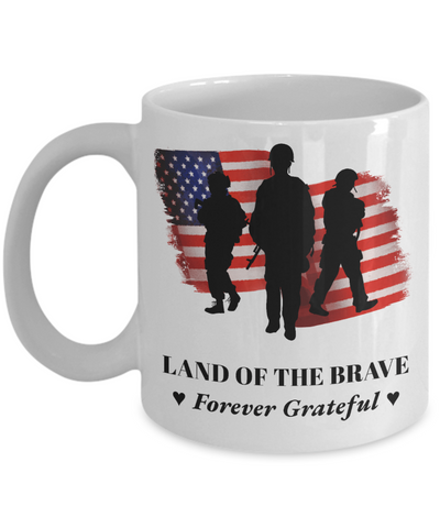 United States Proud Veteran Mug Gift Land of Brave Forever Grateful Appreciation Coffee Cup