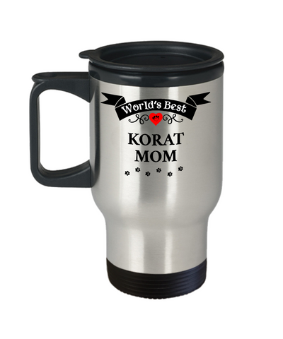 Image of World's Best Korat Mom Cat Cup Unique Travel Coffee Mug With Lid Gift for Women