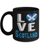Love Scotland Black Mug Gift Novelty Scottish Keepsake Coffee Cup