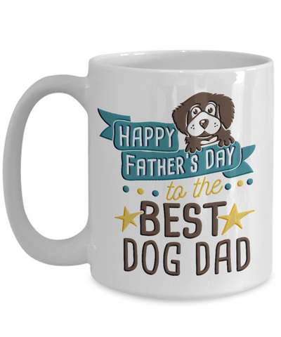 Happy Father's Day Best Dog Dad Mug Lover Novelty Quote Gift Ceramic Coffee Cup