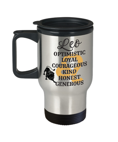 Image of Leo Zodiac Travel Mug Gift Fun Novelty Birthday Coffee Cup