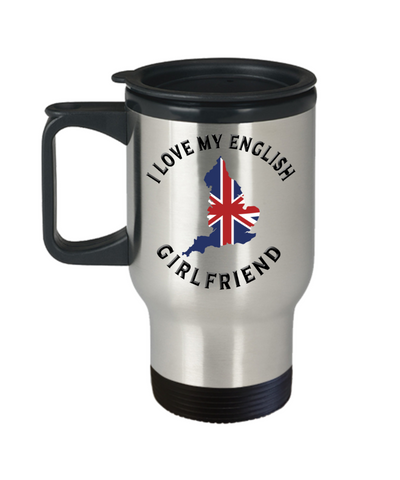 I Love My English Girlfriend Travel Mug With Lid Novelty Birthday Gift Coffee Cup