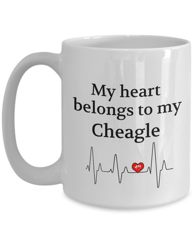 My Heart Belongs to My Cheagle Mug Dog Lover Novelty Birthday Gifts Unique Work Ceramic Coffee Gifts for Men Women