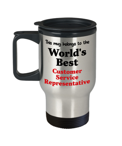 Image of World's Best Customer Service Representative Occupational Insulated Travel Mug With Lid Gift Novelty Birthday Thank You Appreciation Coffee Cup