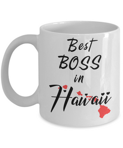 Best Boss in Hawaii State Mug Unique Novelty Birthday Christmas Gifts Ceramic Coffee Cup for Employer Day