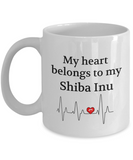 My Heart Belongs to My Shiba Inu Mug Dog Lover Novelty Birthday Gifts Unique Gifts