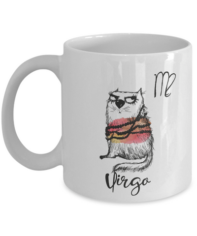 Image of Funny Zodiac Cat Mug Virgo Cat Mug for Virgo People - August 23 - September 22  Birthday Mugs