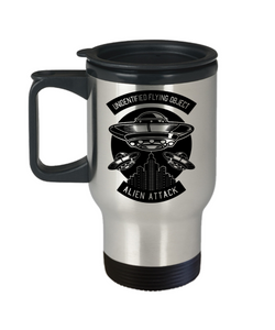 Alien Attack Travel Mug With Lid Unidentified Flying Object Novelty Birthday Christmas Gifts UFO Coffee Cup