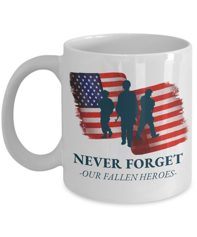 United States Fallen Veteran Heroes Mug Gift Never Forget Grateful Appreciation Coffee Cup