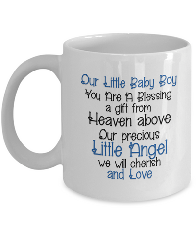 "Gift For New Parents, ""Our Little Baby Boy You Are A Blessing, a Gift from Heaven Above. Our precious Little Angel We Will Cherish And Love"" Beautiful gift for parents of a new baby son"