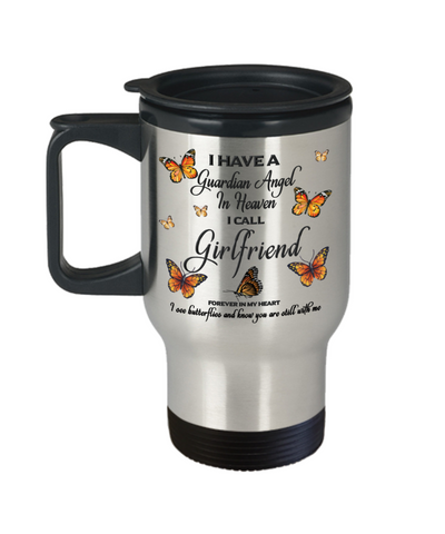 Girlfriend In Loving Memory Travel Mug With Lid Guardian Angel in Heaven Monarch Butterfly Gift Memorial Coffee Cup