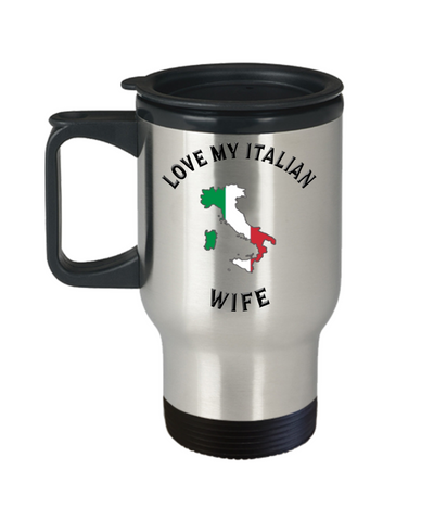 Image of Love My Italian Wife Travel Mug With Lid Novelty Birthday Gift Coffee Cup