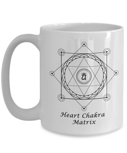 Sacred Geometry Coffee Mug Gifts  Heart Chakra Matrix Grid with Nested Tree of Life Ceramic Cup