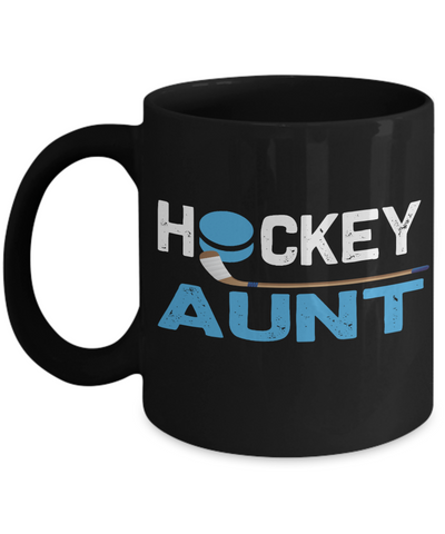 Hockey Aunt Black Mug Gift Auntie Novelty Birthday Ceramic Coffee Cup
