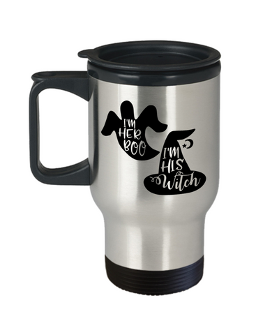 Halloween I'm Her Boo His Witch Travel Mug Funny Gift Spooky Haunted Novelty Cup