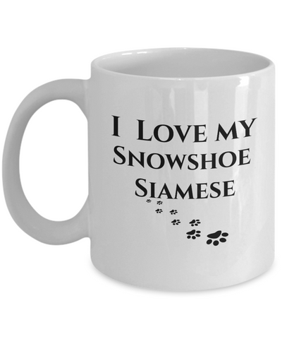 Image of I Love My Snowshoe Siamese Mug Cat Novelty Unique Work Ceramic Coffee Cup Gifts