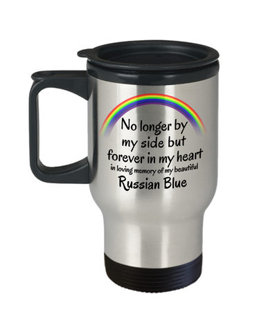 Image of Russian Blue Memorial Gift Cat Travel Mug With Lid No Longer By My Side But Forever in My Heart Cup In Memory of Pet Remembrance Gifts