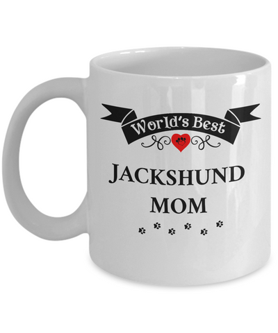 Image of World's Best Jackshund Mom Cup Unique Ceramic Dog Coffee Mug Gifts for Women