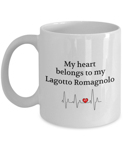 My Heart Belongs to My Lagotto Romagnolo Mug Animal Lover Novelty Birthday Gifts Unique Work Ceramic Coffee Gifts for Men Women