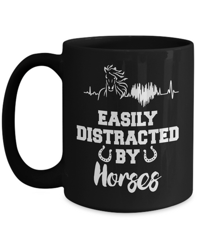 Image of Easily Distracted By Horses Black Mug Gift Equine Lover Novelty Coffee Cup