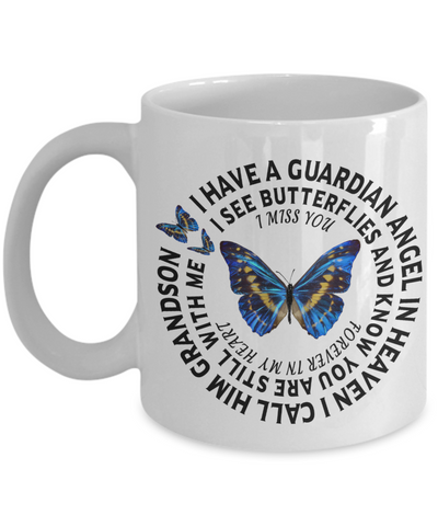 Grandson In Loving Memory Gift Butterfly Mug I Have a Guardian Angel in Heaven In Remembrance Memorial Ceramic Coffee Cup