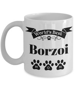 World's Best Borzoi Dog Mom Mug Fun Novelty Birthday Gift Work Coffee Cup