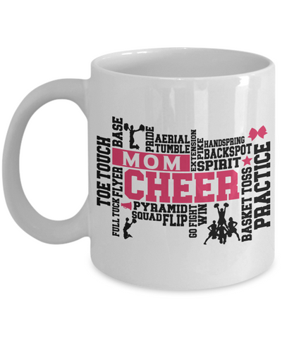 Cheer Mom Word Art Mug Gift for Women Cheerleader Practice Flip Aerial Squad Novelty Birthday Ceramic Coffee Cup