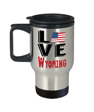 Image of Love Wyoming State Travel Mug Gift Novelty American Keepsake Coffee Cup