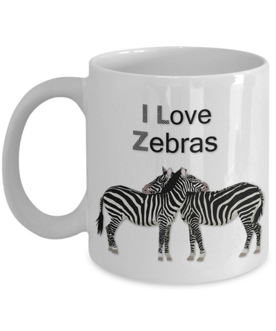 "Image of Zebra Lover Gift, ""I Love Zebras!"" Beautiful gift mug for people who love Zebras"