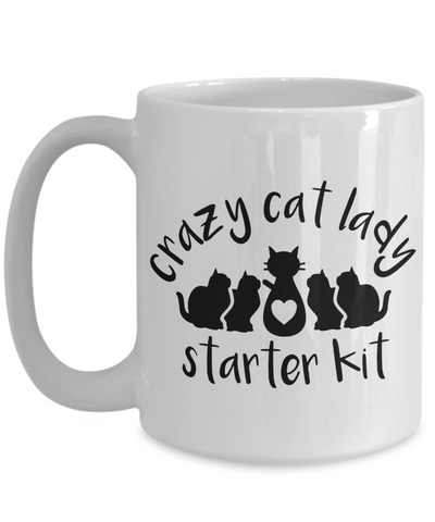 Image of Crazy Cat Lady Starter Kit Funny Coffee Mug for Cat Lovers Enthusiasts
