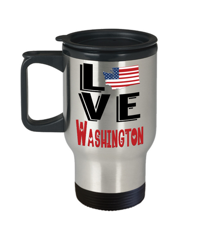 Image of Love Washington State Travel Mug Gift Novelty American Keepsake Coffee Cup