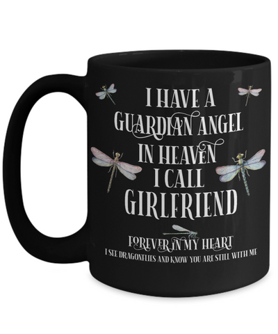 Image of Girlfriend Dragonfly Memorial Black Mug Gift Guardian Angel In Loving Memory Keepsake Cup