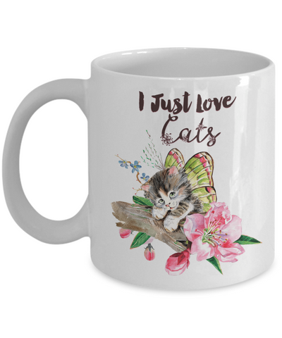 "Image of Beautiful Flying Kitten Gift for Cat Lovers, ""I Just Love Cats"" Gift for Cat Guys and Gals"