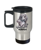 Keep Calm and Love Hippos Travel Mug Gift Hippo Mom and Baby Lover Novelty Birthday Cup
