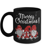 Merry Christmas Gnome Black Mug Gift Cute Holiday Trio of Gnomes Novelty Surprise Coffee Cup