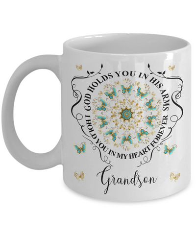 Grandson In Loving Memory Mug Memorial Turquoise Butterfly Mandala God Holds You in His Arms Mandala Cup