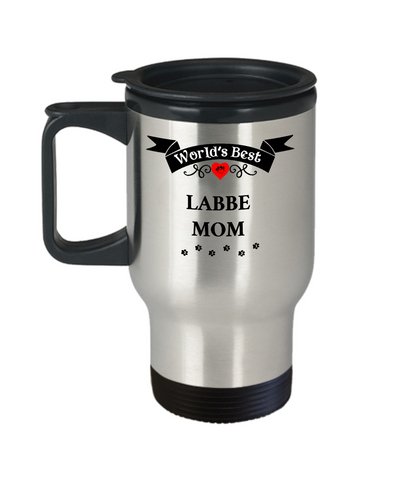 Image of World's Best Labbe Mom Dog Cup Unique Travel Coffee Mug With Lid Gift for Women